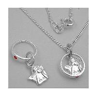 Kette 36cm Echt Silber 925 Jungen Taufe Safir Taufring mit Kreuz Anhänger inkl