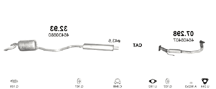 KAT Endschalldämpfer LANCIA Y 1.1 1.2 1.4 i.e + Montagesatz 8V 12V