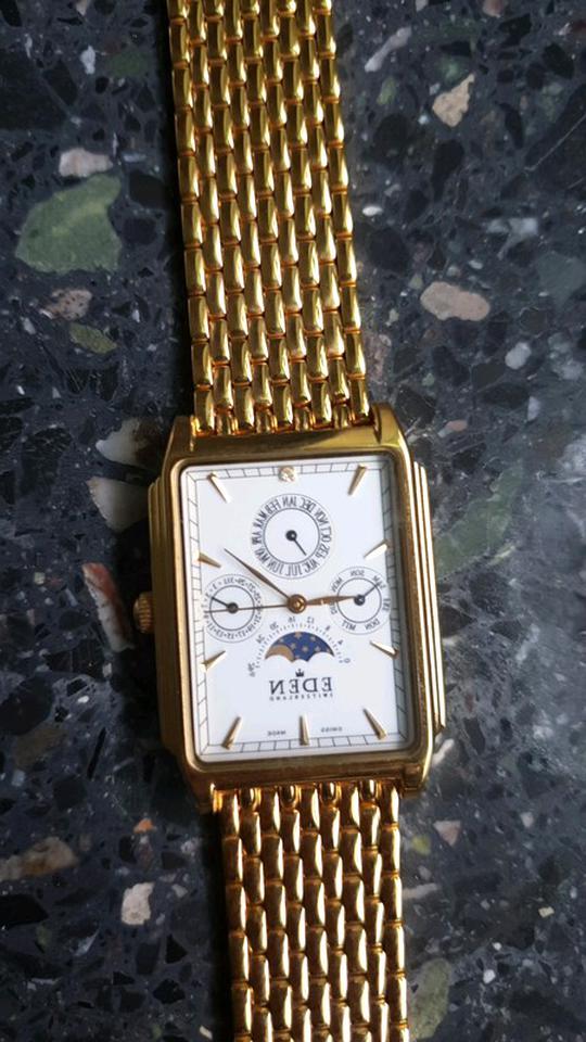 newest 0086a 7ca1c EDEN goldene Armbanduhr mit Strass Steine, gebrauc