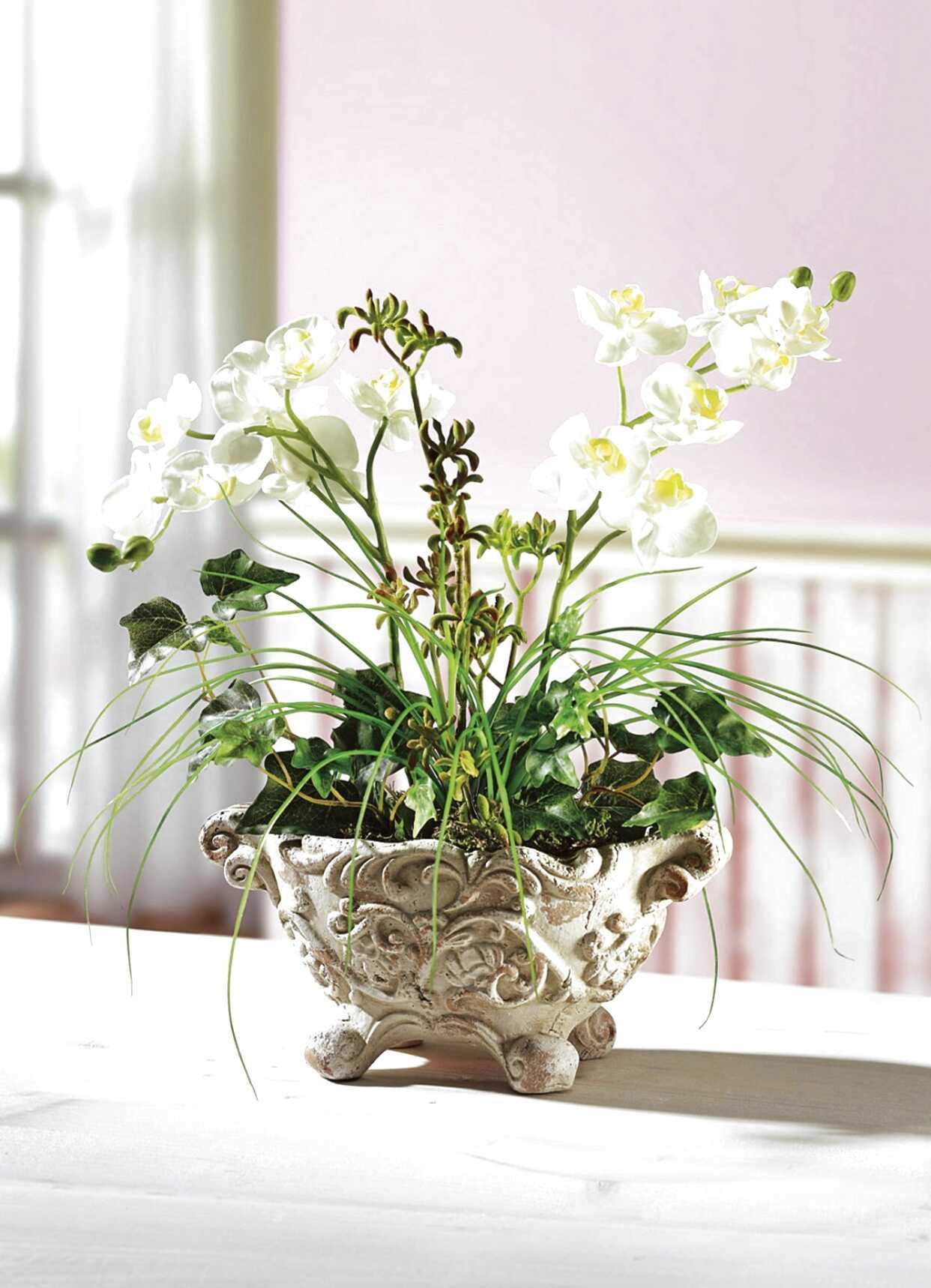 Glas Vase Kunstlumen Gesteck Tischgesteck Blumengesteck Orchideen Orange Deko