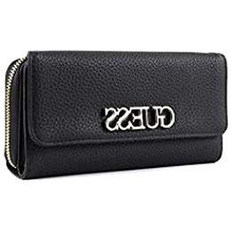 Damen-Geldbörse Purse Wallet GUESS MELISE Double Zip Organizer Lack-Schwarz