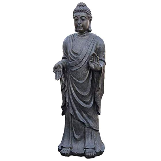Skulptur Bronze teilpoliert stehender Buddha auf Thron Südostasien