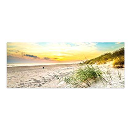 Wallario Premium Glasbild 50x50cm Urlaub Seychellen Palmen Sandstrand Reise