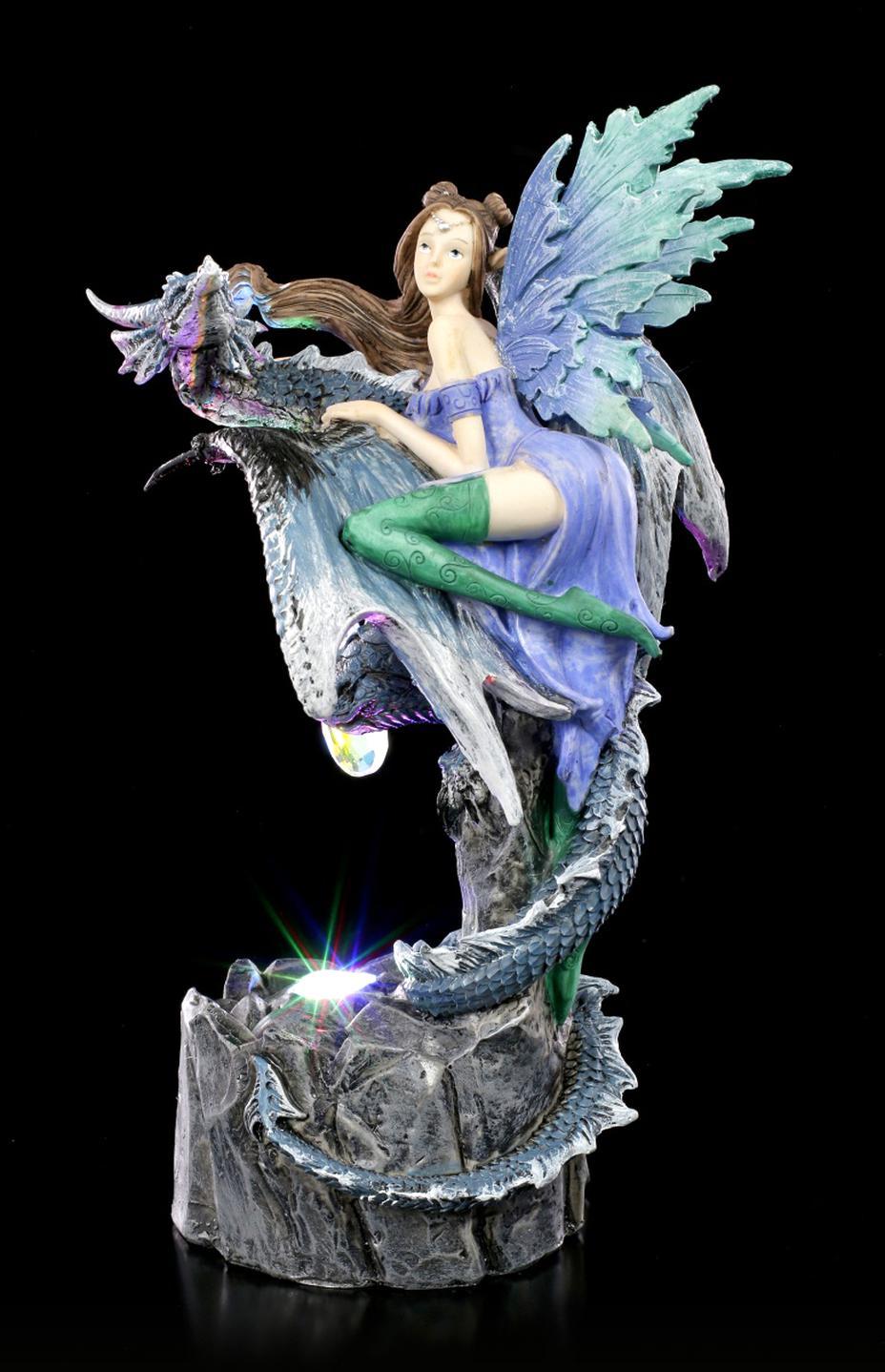 Drachen Figur Drache mit großem leuchtenden Drachenauge LED Drachenlampe