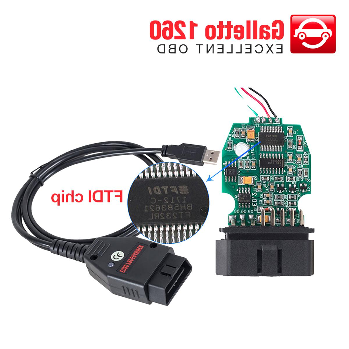 Schwarz /… ABS Galletto 1260 ECU Chip Tuning Tool EOBD//OBD2//OBDII Autodiagnosekabel Schnittstelle Gorgeri OBD2 Kabel