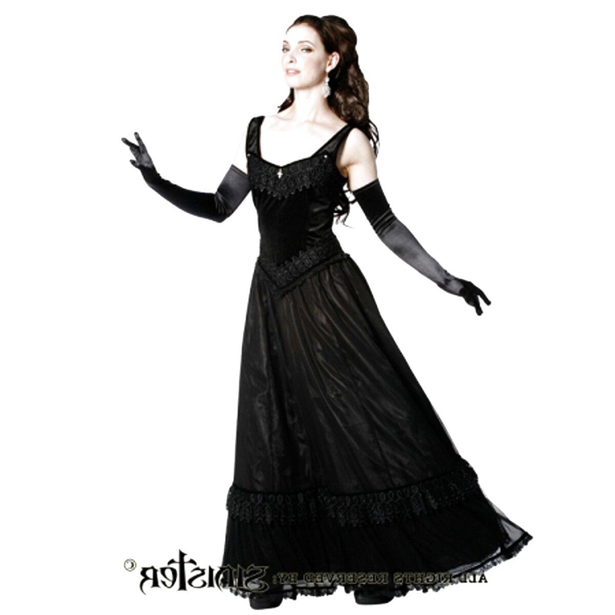gothic kleid abi ball tüll schwarz extreme l
