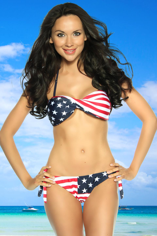 Neckholder Monokini USA Flagge Stars/&Stripes Amerika Bikini USA Bikini Badeanzug