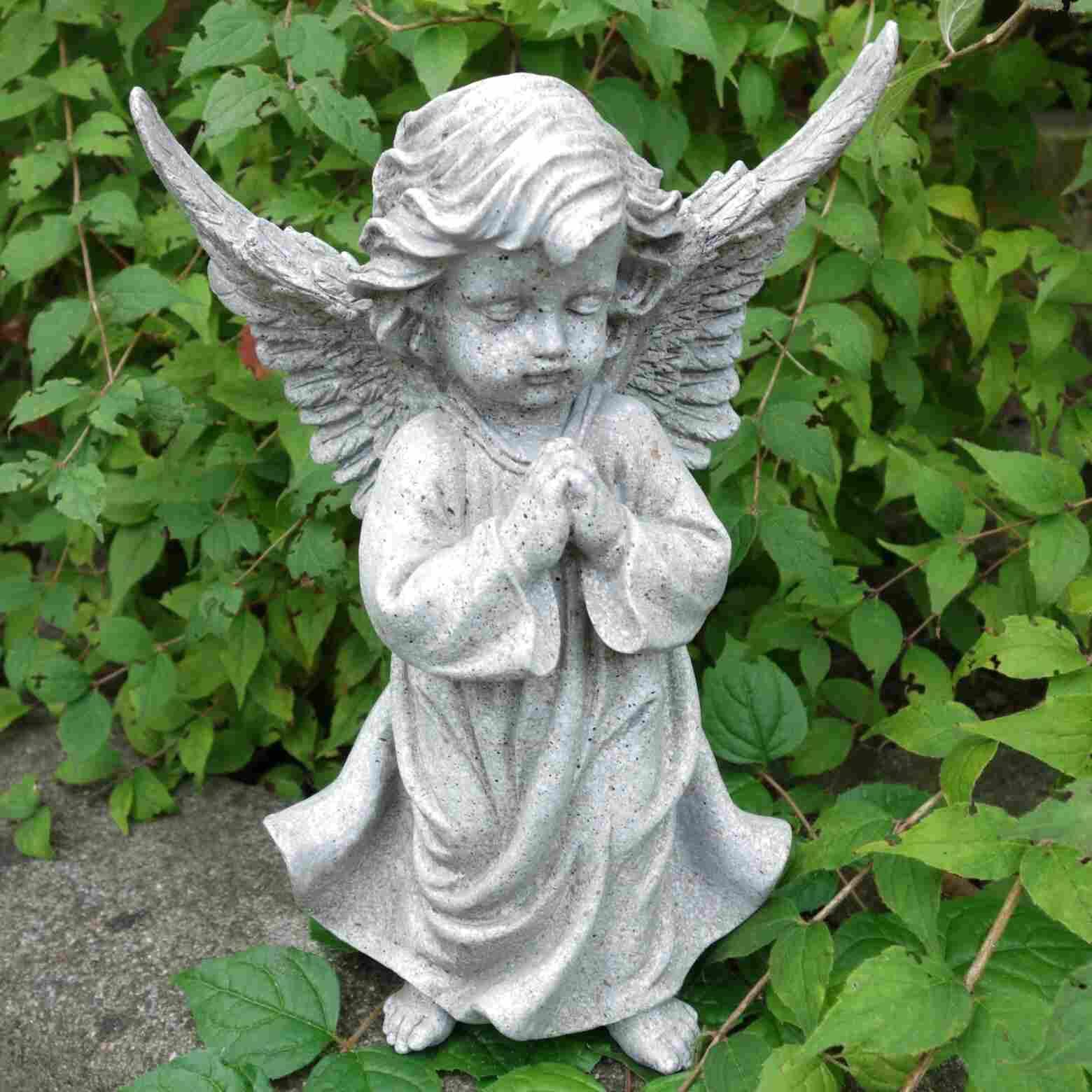 Grabschmuck Grabengel Keramik 18cm groß Engel kniend betend Trauerengel Grabdeko