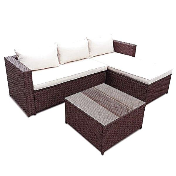 Braun meliert Baidani Rattan Garten Lounge Garnitur Blizzard Taupe