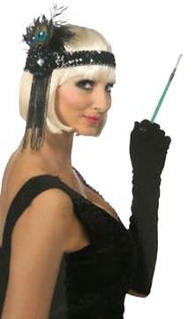 2x Feder Kopfschmuck Damen Party Kostüm Zubehör CHARLESTON STIRNBAND 20er Jahre