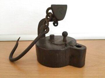 Grubenlampe Froschlampe Bergbau Frosch 1834 offenes Geleucht als Replik